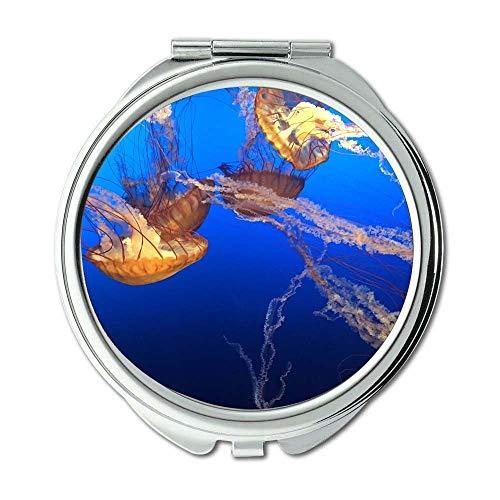 Yanteng Spiegel, Schminkspiegel, Quallen Naturozean, Taschenspiegel, tragbarer Spiegel