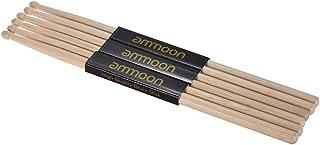 ammoon Baquetas 3 Pares de 7A Palillos de Madera Fraxinus Mandshurica Wood Accesorios de Tambor