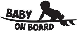 Baby On Board Funny Bumper Sticker Vinyl Decal - Surfer Baby Surfing Surfboard Sticker Sea Ocean Car Sticker Van Truck SUV...