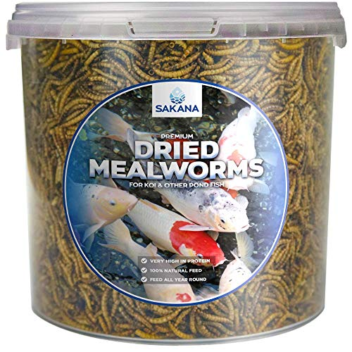 Sakana Dried Mealworms | Premium Quality Aquatic Pond Fish Food | High Protein & Energy, Balanced Diet Feed | Contains Nutritious Minerals and Vitamins | Easily Digestible, Year-Round Snack (2.5L)