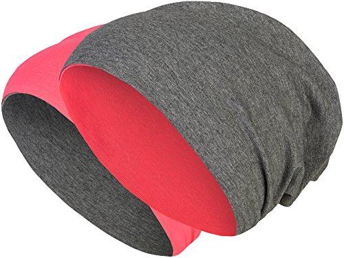 2 in 1 Wendemütze - Reversible Slouch Long Beanie Jersey Baumwolle elastisch Unisex Herren Damen Mütze Heather in 24 (8) (Dark Grey/Pink)