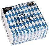 Papstar Servietten / Tissueservietten bayrisch blau (100 Stück) 1-lagig, 1/4-Falz, 33 x 33 cm, für...
