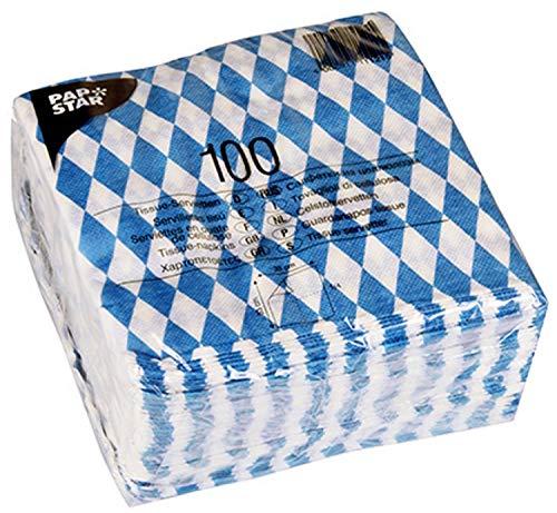 Papstar Servietten / Tissueservietten bayrisch blau (100 Stück) 1-lagig, 1/4-Falz, 33 x 33 cm, für Gastronomie oder Feste, für bayrische Spezialitäten, #11121