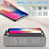 jianji Wireless Phone Charger with LED Electric Alarm Clock, Digital Thermometer, HD Display, Mirror Surface, (Compatible with iOS/Android/Windows Wireless Charging Device)