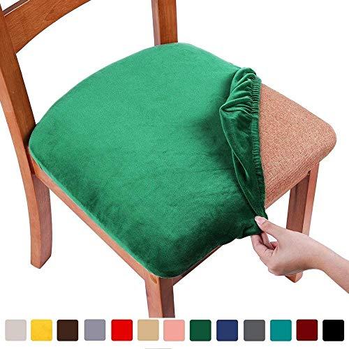 Fundas de asiento de silla elástica para comedorSilla de comedor tapizada de terciopeloProtectores de cojines de asiento Fundas desilla extraíbles y lavables con lazos Juego de 2 (2 piezas) Verde