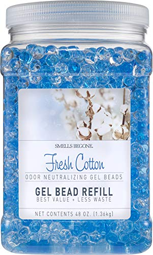 Smells Begone Odor Eliminator Gel Bead Refill - Eliminates Odors from Bathrooms, Cars, Boats, RVs and Pet Areas - Formulated with Natural Essential Oils (48 OZ) (Fresh Cotton)