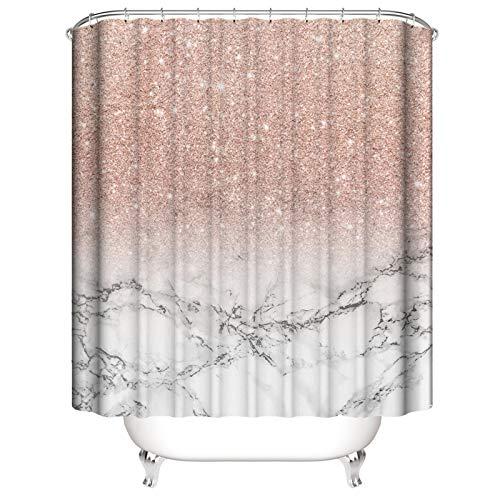 Juego de cortinas de ducha con textura de mármol, cortina de ducha impermeable, juego de alfombrillas de piso, moderno e impermeable, juego de decoración del hogar, 59 x 70 pulgadas