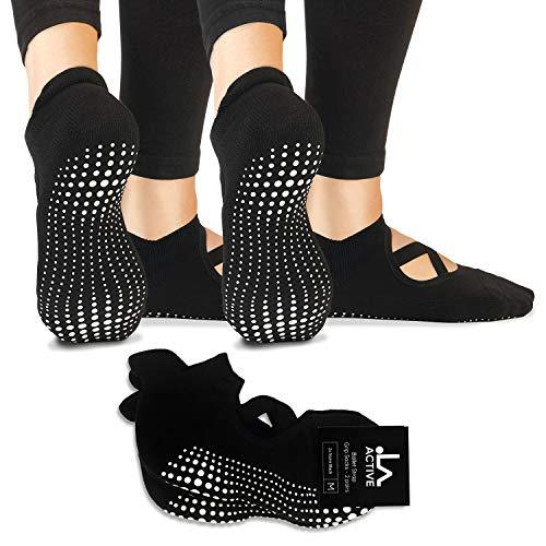 LA Active Grip Socken - 2 Paar - Yoga Pilates Balletstange Ballet Abs Noppen Rutschfest Pointe (Schwarz x 2, 40-44 EU)