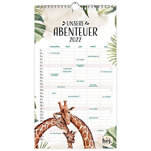HEJ.CREATION Familienplaner 2022 mit 5 Spalten • Wandkalender 'Unsere Abenteuer' im schönen Design • Jahreskalender mit Feiertagen und Ferien • Home Planer, Familienkalender, Monatskalender (2022)