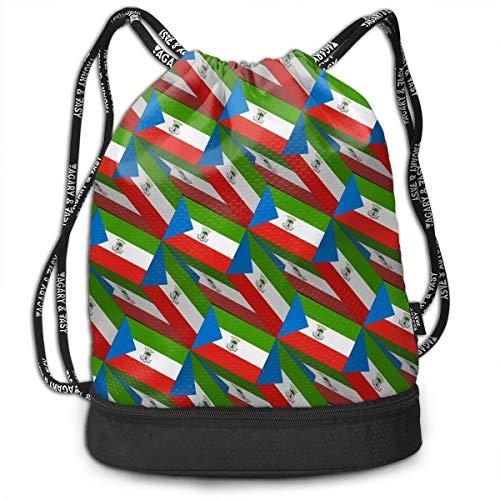 Ovilsm Turnbeutel Hipster Sporttaschen Equatorial Guinea Flag 3D Art Pattern Drawstring Bag Rucksack Shoulder Bags Travel Sport Gym Bag Print - Yoga Runner Daypack Shoe Bags with Zipper and Pockets