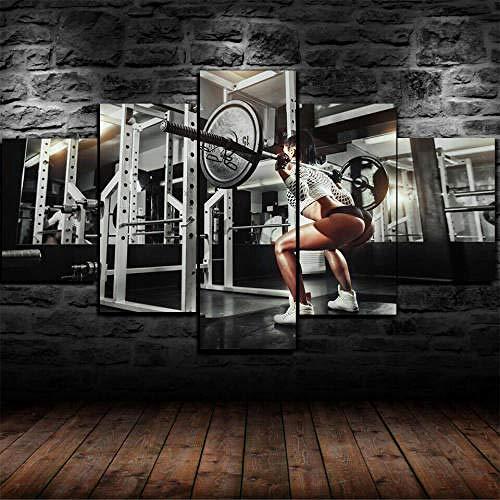 Pintura Sobre Lienzo 5 Piezas Cuadro Sobre Lienzo-Modernos Mural-Impresión En Lienzo-Listo Para Colgar-Decor Hogar Arte Cuadro En Lienzo Regalo Navidad Fit Girl Squat Gym Workout Ejercicio 200X100