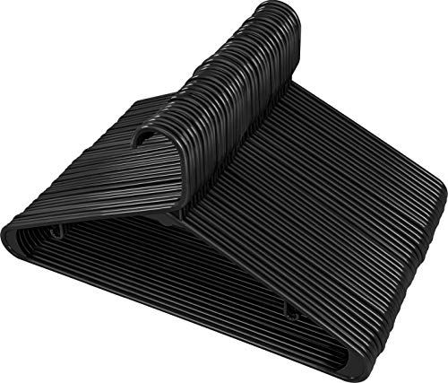Utopia Home Black Plastic Standard Hangers for Clothes Tubular Hangers - Durable Slim Sleek Black 50