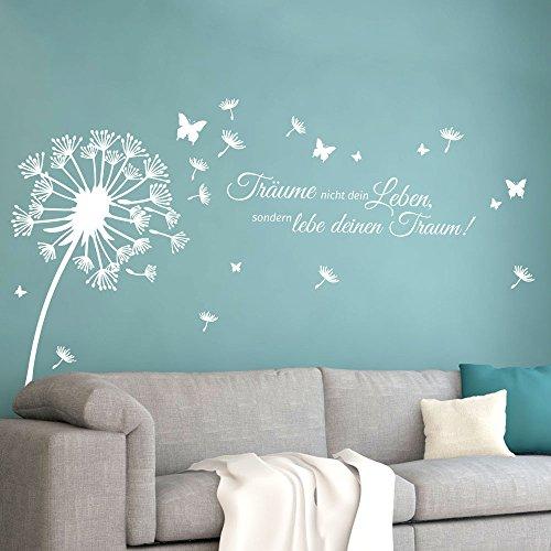 Grandora Wandtattoo Pusteblume Zitat Träume Nicht Dein Leben I weiß (BxH) 125 x 86 cm I Löwenzahn Wohnzimmer Wandsticker Wandaufkleber Aufkleber W5479