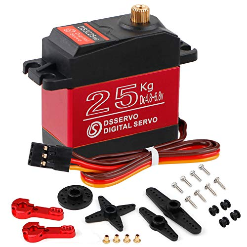 25KG Digital Servo Full Metal Gear High Torque Waterproof DS3225 with 25T Servo Arm for RC Car Robot Control Angle 180
