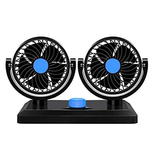 ACEHE Ventilador de coche de doble cabeza 12 V/24 V USB para camión potente silenciador de viento grande ventilador de enfriamiento universal para coche, furgoneta (azul) (doble cabeza 12 V)