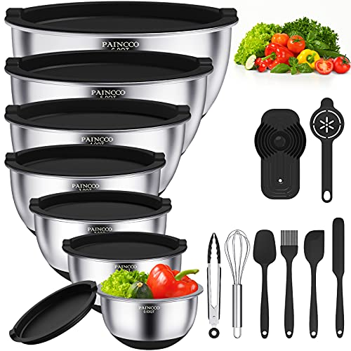 Mixing Bowls with Airtight Lids, 20pcs Stainless Steel Nesting Bowls Set by Paincco, Non-Slip Silicone Bottom & Measuring Marks - Size 6, 5, 4, 3, 2, 1.5, 0.63 qt, Fit for Mixing & Serving(Black)