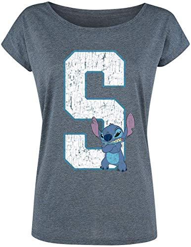 Lilo & Stitch 626 - Stitch Mujer Camiseta Azul Jaspe S, 70% Poliester, 30% algodón, Ancho