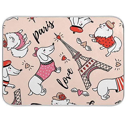 Esterilla de microfibra para secar platos, extra grande, súper absorbente, diseño de doble cara para cocina, salchichas de 18 x 24 pulgadas, boina roja para perro vestido de la torre Eiffel