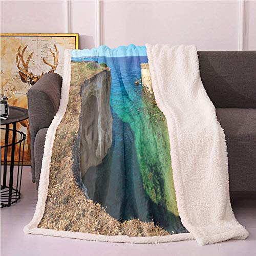 Sicily Sherpa Blankets,Summer Sea Landscape Panoramic Photo with Rocky Cliffs Mediterranean Cape Grotto Lightweight Fluffy Flannel,for Sofa Couch Bed Throw Blanket(60in x 80in,Multicolor)