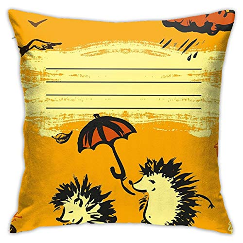 Fun Notebook Cover Design Two Hedgehogs With An Umbrella Rainy Weather Cloud Yellow Dark Orange Black Fashion Pillow 18inch*18inch,Pillowcase Decorative Square Sofa Bedroom Car - No Inserts Included