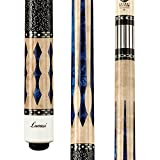 Lucasi Custom Super Birds-Eye Pool Cue with Blue Luster Inlays, 19-Ounce