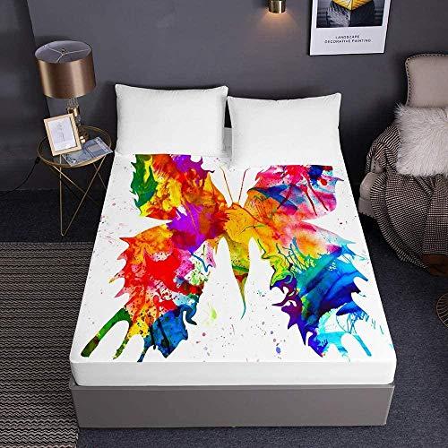 sábana bajera deep pocket,Sábanas ajustables con estampado de mariposas para cama individual doble tamaño king Sábanas 3D de bolsillo profundo 30cm - Microfibra suave Cuidado fácil-El 180x200x30cm_2