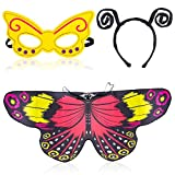 Beelittle Butterfly Wings Costume 3 Pezzi Fancy Dress-Up Set Ali di Farfalla Cape Scialle con Antenna Fascia e Maschera per Ragazze Bambini (Rosso Giallo)