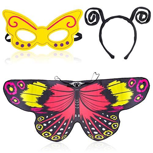 Beelittle vlindervleugels kostuum 3-delige fancy dress-up set vlindervleugels cape sjaal met antenne hoofdband en masker voor meisjes kinderen (rood Geel)