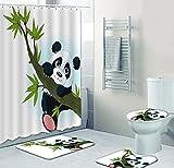 Juego De Accesorios De Baño Con Estampado De Panda De Dibujos Animados, Juego De 4 Piezas, Juego De Cortina De Ducha Impermeable + Alfombra Baño + Alfombra Contorno En Forma U + Funda Asiento Inodoro