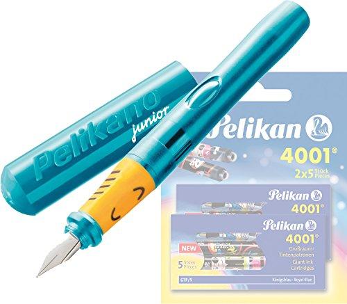 Pelikan - Pelikano Junior Füllhalter P67, Feder: A, Schaftfarbe: [ türkis ] + 10 Großraum-Tintenpatronen GTP