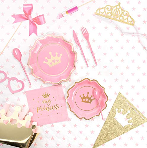 [Pack ahorro] Kit Vajilla y Decoración Cumpleaños Fiesta Princesas para 15 personas-Incluye Platos, cubiertos, servilletas, cajitas corona, vasos, guirnalda, accesorios y globo corona