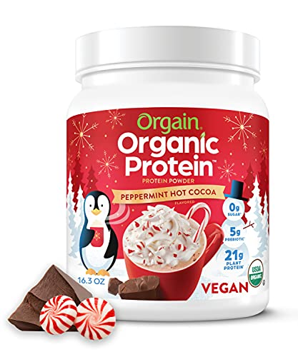 Peppermint Hot Cocoa Organic Protein Powder by Orgain - Seasonal Chocolate Holiday Flavor, Vegan, Plant Based, 21g of Protein, 2g of Fiber, No Dairy, Gluten, Soy or Added Sugar, Non-GMO, 1.02 Lb
