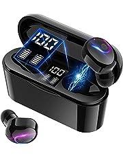 Bluetooth 5.1ワイヤレスイヤホン HiFi ステレオ デュアルスピーカー ブルートゥース イヤホン LEDディスプレイ電量表示 自動電源ON/OFF 超軽量 自動ペアリング イヤフォンbluetooth 両耳 左右分離型 IPX5防水 スポーツ マイク内蔵 PSE認証済 iPhone/Android対応