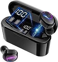 Bluetooth 5.1ワイヤレスイヤホン HiFi ステレオ デュアルスピーカー ブルートゥース イヤホン LEDディスプレイ電量表示 自動電源ON/OFF 超軽量 自動ペアリング イヤフォンbluetooth 両耳 左右分離型...