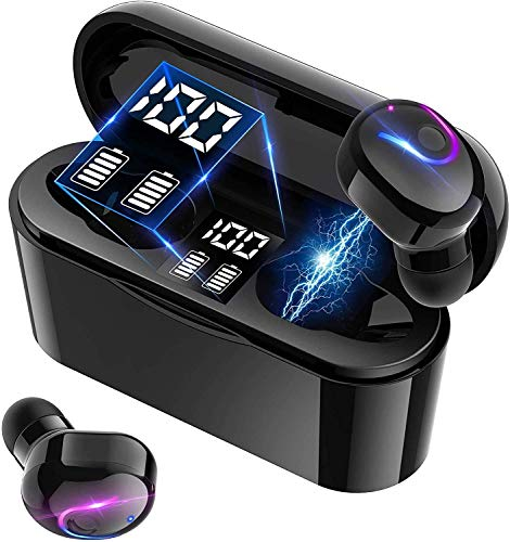 【2021版 Bluetooth5.2技術 瞬時接続】 ワイヤレスイヤホン HiFi ブルートゥース イヤホン LEDディスプレイ電量表示 IPX5防水 自動ペアリング イヤフォンbluetooth 両耳 左右分離型 iPhone/Android対応; セール価格: ¥3,099