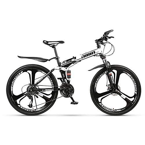 26 Zoll Mountainbike, Scheibenbremsen Hardtail MTB, Trekkingrad Herren Bike Mädchen-Fahrrad, Vollfederung Mountain Bike, 27 Speed,Weiß,Three cutter wheel