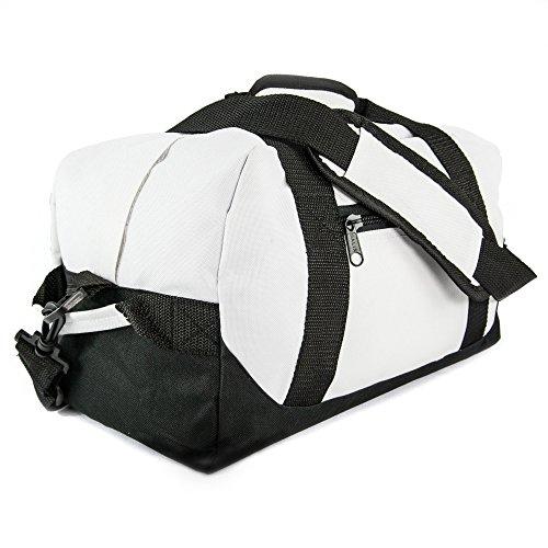 "DALIX 14"" Small Duffle Bag Two Toned Gym Travel Bag (White)"