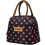 Fashion Polka Dot Lunch Box for Women Soft Liner Thermal Insulation Foil Aluminum Film Bento Bag Large Capacity Waterproof Lunch Bags for Teen Girls Tote Bag (Black)