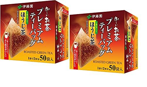Itoen O ~ i Ocha Premium Hojicha Tea, Hojicha de té verde tostado japonés, bolsitas de té de 1,8 g, paquete de 2 cajas (100 bolsas en total), fabricado en Japón
