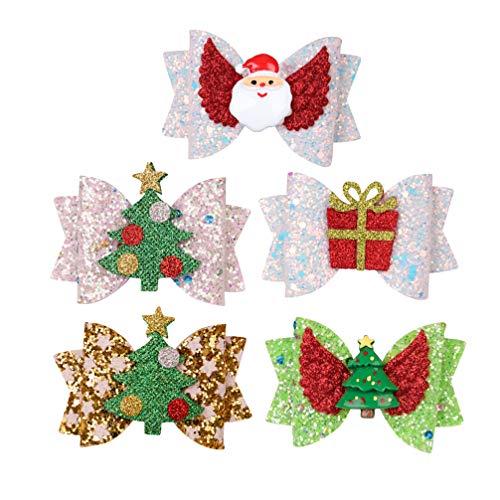 Beaupretty noël cheveux arcs pinces noël paillettes arcs avec santa hat arbre noël claus pinces à cheveux ange aile d'ange pour les enfants 5pcs (style2)