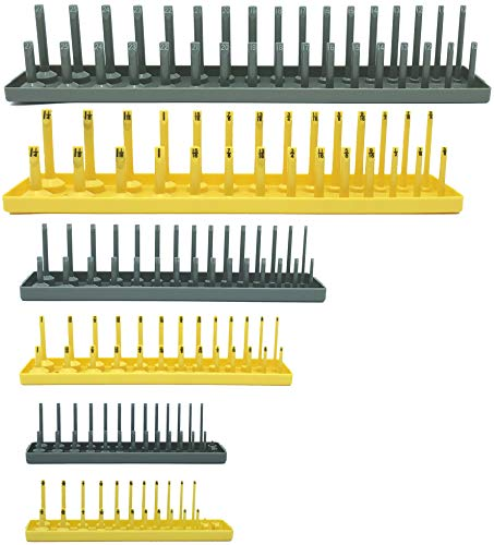 Colsen Socket Organizers 6 Piece Socket Tray Set | Metric & SAE Deep and Shallow Socket Organizers | Holds 80 SAE & 90 Metric Sockets | 1/4' Drive, 3/8' Drive, and 1/2' Drive(6PCS SET, Yellow)