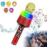 Microphone sans Fil Bluetooth Couleur Karaoké LED, Haut-Parleur Portable, Microphone...