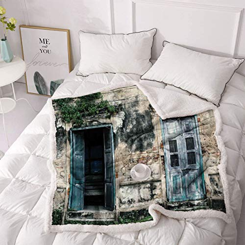 Rustic Lamb Wool Blanket Doors of Old Rock House with French Frame Details in Countryside European Past Theme Super Soft, Wrinkle-Resistant Blanket 63'x90' Teal Grey