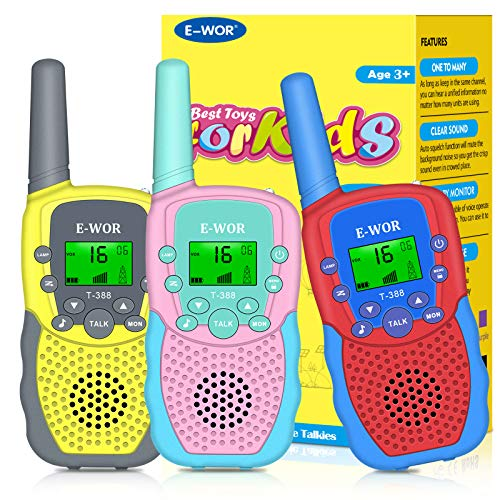 Kids Walkie Talkies, 3 Pack Toy Walkie Talkies, 2020 for Boys and Grils 3-12 Years Old (Yellow Pink Red)