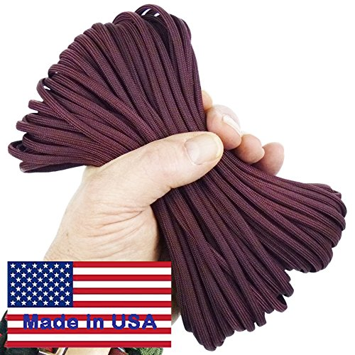 Paracord Wild Plumb Maroon 50 ft Hank 7 Internal Strands 550 Lb Break Strength  Military Survival Parachute Cord for Bracelets amp Projects  Guaranteed Made In US  Includes 2 eBooks