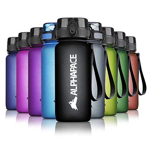 ALPHAPACE Botella de Agua - 650 ml - Negro - Libre de BPA - Botella de Agua a Prueba de Fugas - Se Abre con 1 Clic - para Clase, Deporte, Bicicleta, niños