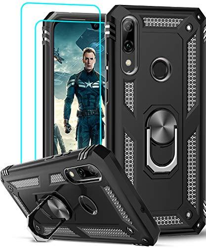 LeYi Funda Huawei P Smart 2019 / Honor 10 Lite con [2-Unidades] Cristal Vidrio Templado,Armor Carcasa con 360 Grados Anillo iman Soporte Silicona TPU Bumper Antigolpes Case para Movil P Smart,Negro