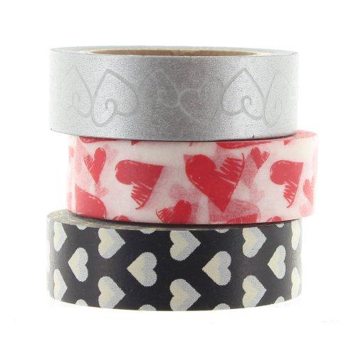Hearts Ruban adhésif Washi Tape Lot de 3
