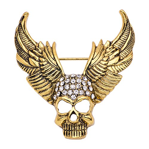 TENDYCOCO Skull Bones Brooch Pin Crystal Gothic Punk Breastpin for Evening Party Costume (X1527, Golden)