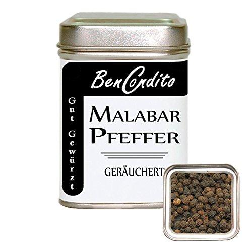 Bencondito - Geräucherter Schwarzer Malabar Pfeffer ( Tiger Pfeffer ) - ganze schwarze Pfefferkörner 65 gr